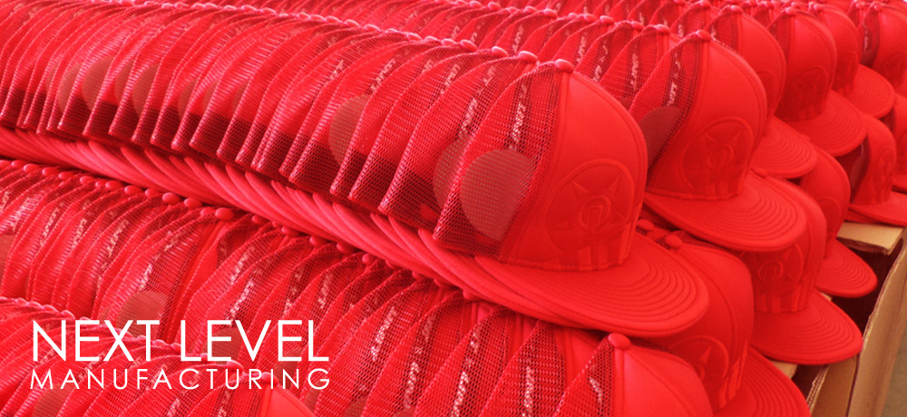 Next Level Manufacturing of Bulk Order Custom Caps, Snapbacks, Trucker Hats