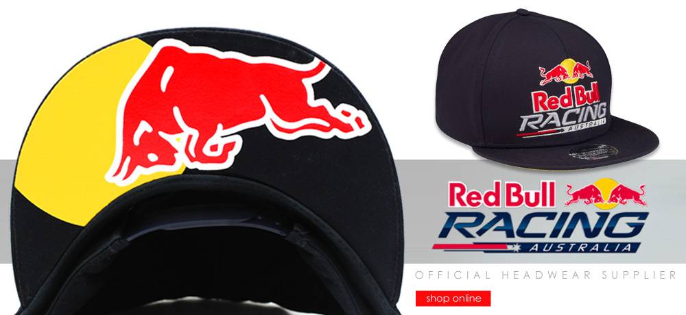 b289fbb8479 Custom Flat Brim Snapback Cap for Red Bull