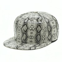 rkd flat brim 6 panel snakeskin buckle back