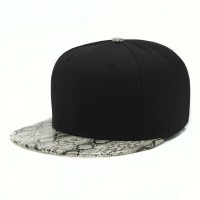 rkd flat brim 6 panel snakeskin brim buckle back